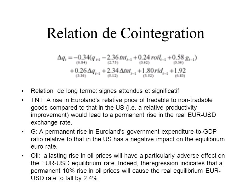 Relation de Cointegration