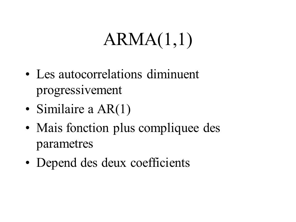 ARMA(1,1) Les autocorrelations diminuent progressivement