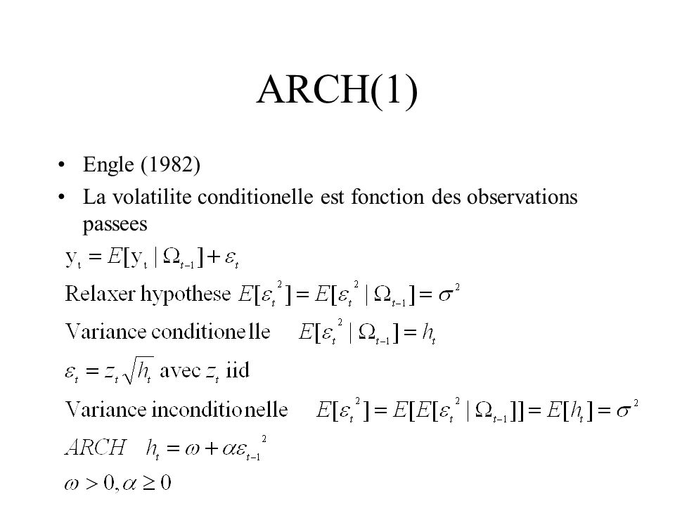 ARCH(1) Engle (1982) La volatilite conditionelle est fonction des observations passees