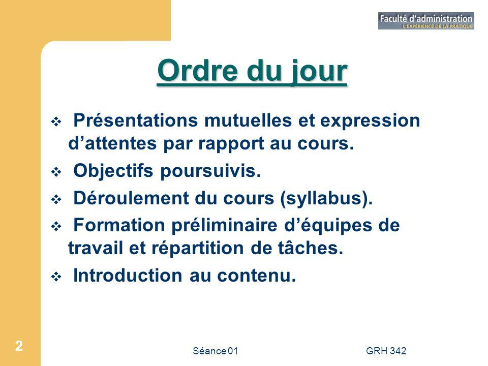 Ordre du jour Présentations mutuelles et expression d'attentes par rapport au cours. Objectifs poursuivis.
