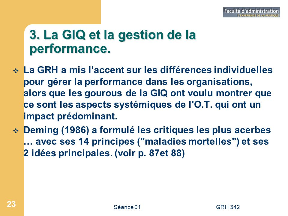 3. La GIQ et la gestion de la performance.