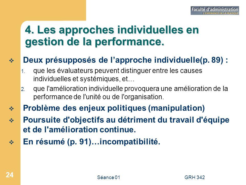 4. Les approches individuelles en gestion de la performance.