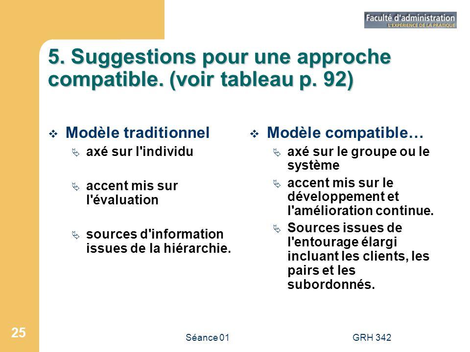 5. Suggestions pour une approche compatible. (voir tableau p. 92)