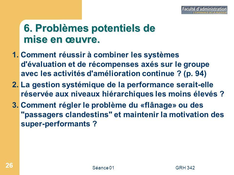 6. Problèmes potentiels de mise en œuvre.