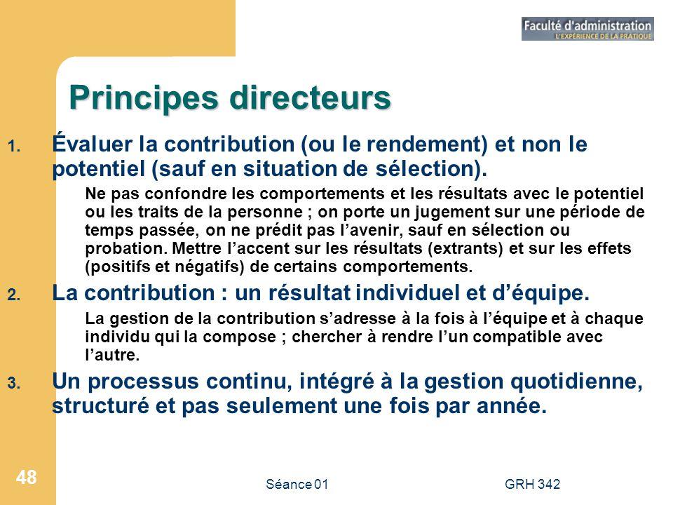 Principes directeurs Évaluer la contribution (ou le rendement) et non le potentiel (sauf en situation de sélection).