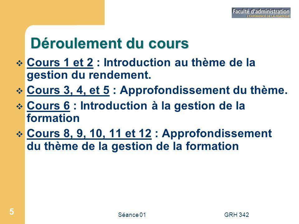 Déroulement du cours Cours 1 et 2 : Introduction au thème de la gestion du rendement. Cours 3, 4, et 5 : Approfondissement du thème.