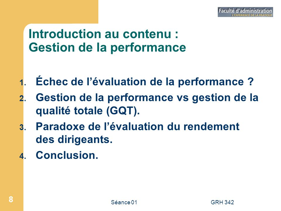 Introduction au contenu : Gestion de la performance