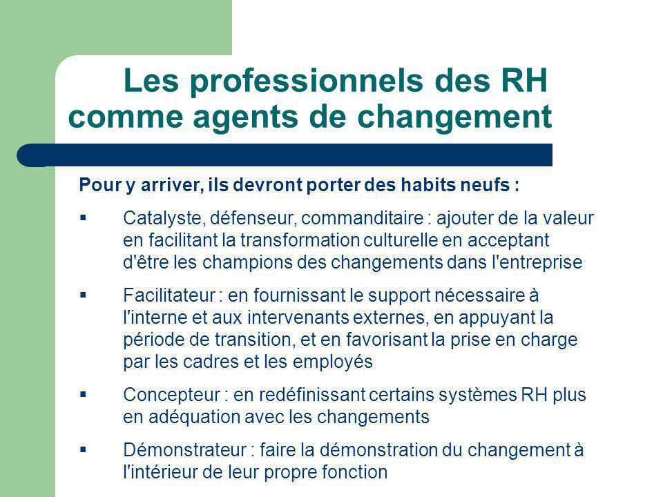 Les professionnels des RH comme agents de changement