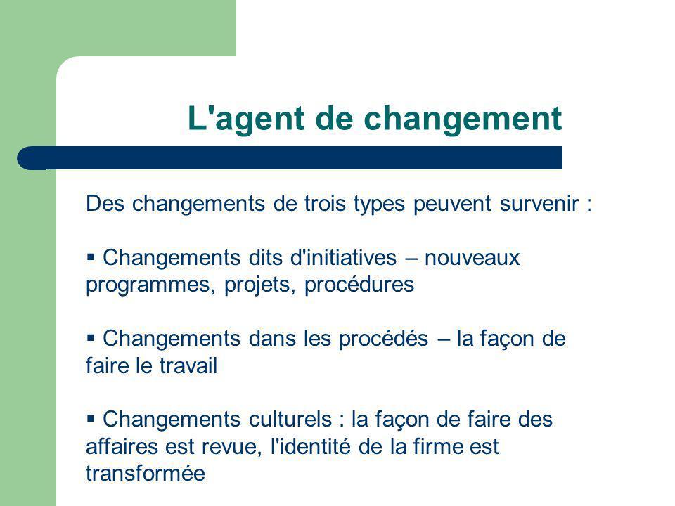 L agent de changement Des changements de trois types peuvent survenir : Changements dits d initiatives – nouveaux programmes, projets, procédures.