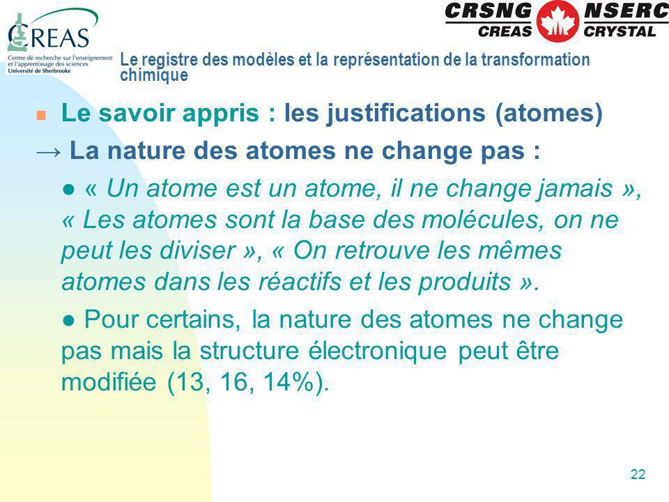 Le savoir appris : les justifications (atomes)