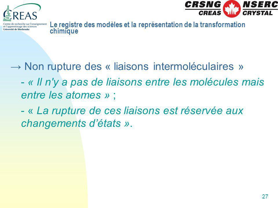 → Non rupture des « liaisons intermoléculaires »