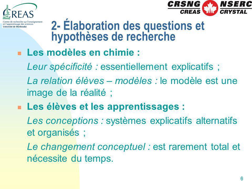 2- Élaboration des questions et hypothèses de recherche