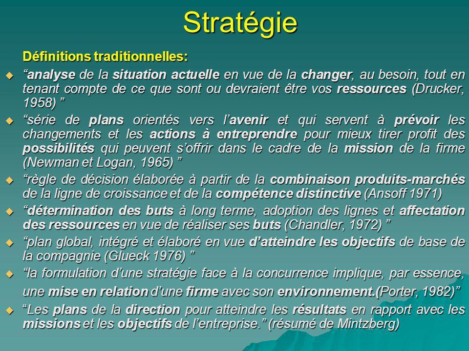 Stratégie Définitions traditionnelles: