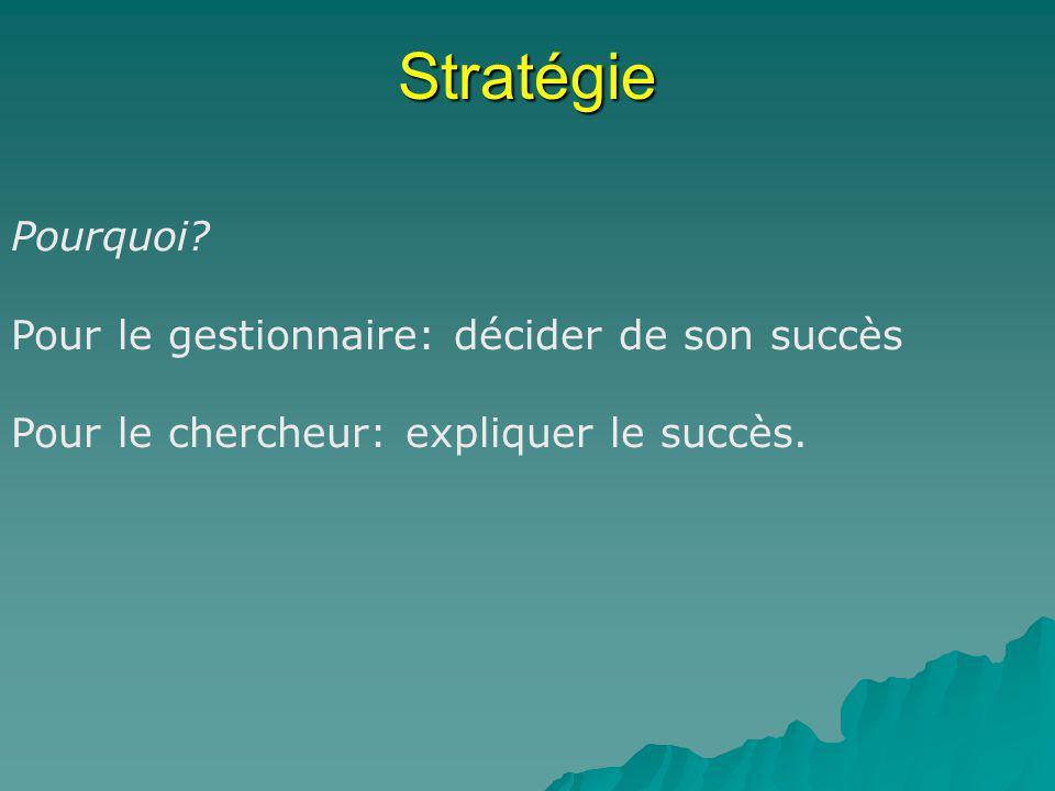 Stratégie Pourquoi Pour le gestionnaire: décider de son succès