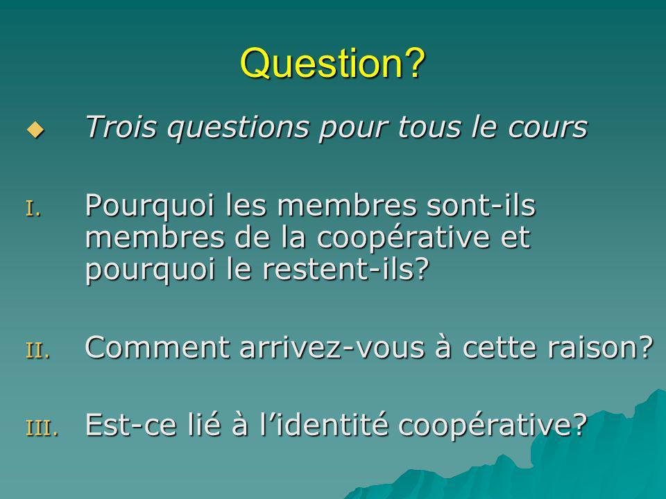 Question Trois questions pour tous le cours
