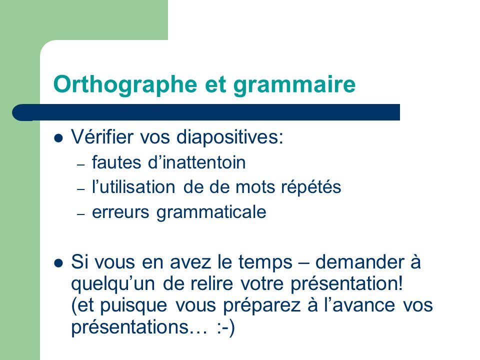 Orthographe et grammaire