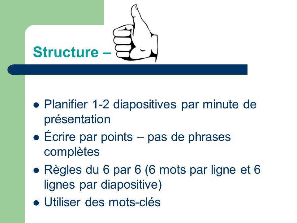 Structure – Planifier 1-2 diapositives par minute de présentation