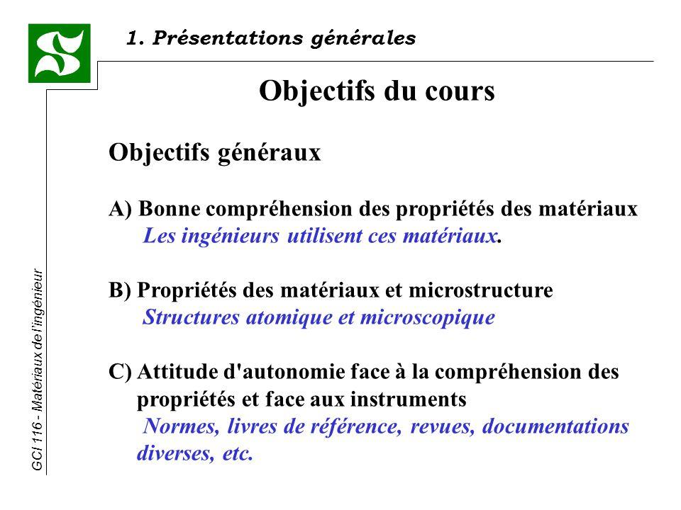 Objectifs du cours Objectifs généraux