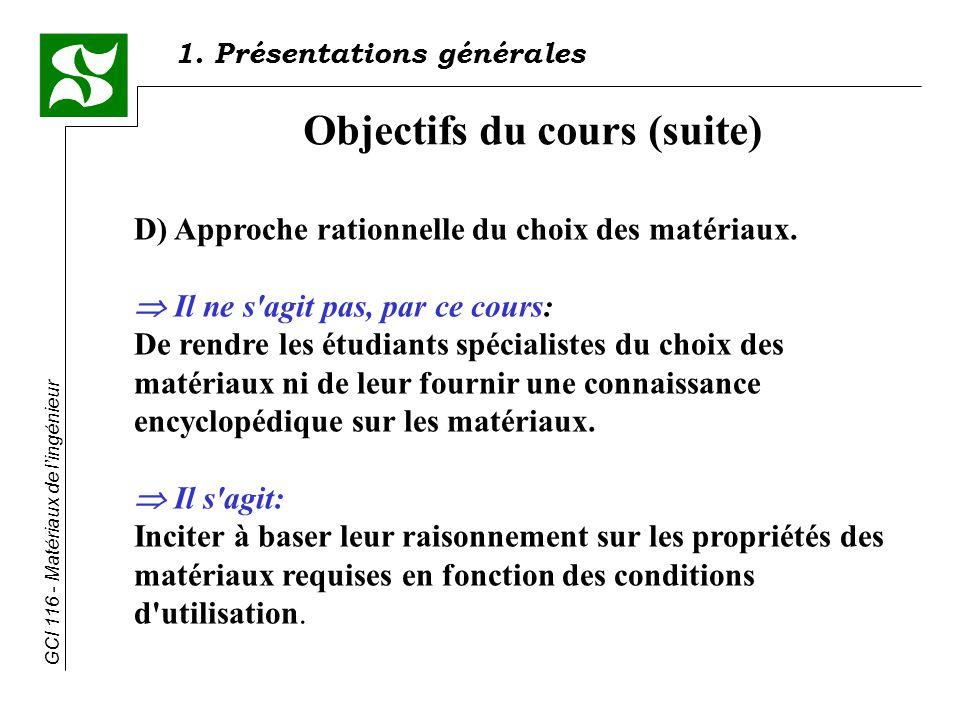 Objectifs du cours (suite)