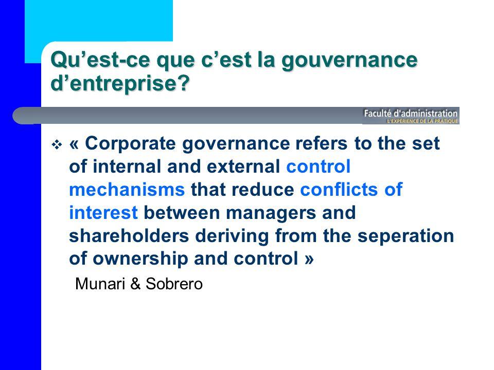 Qu'est-ce que c'est la gouvernance d'entreprise