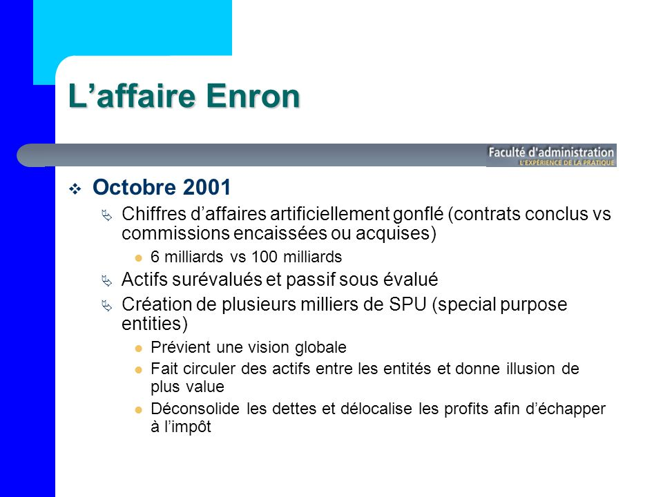 L'affaire Enron Octobre 2001