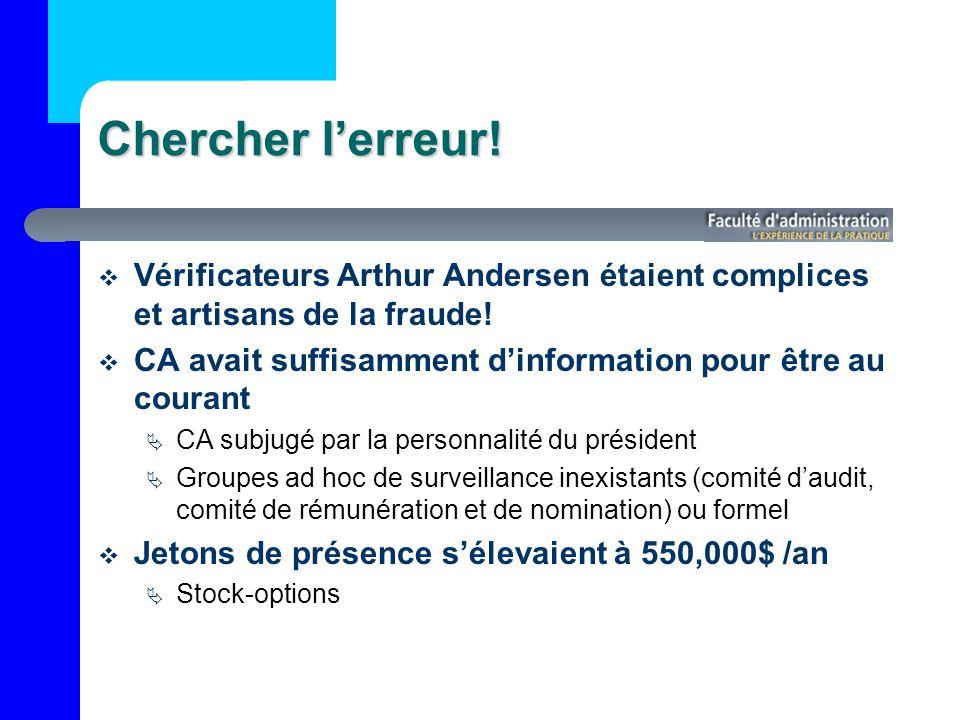 Chercher l'erreur! Vérificateurs Arthur Andersen étaient complices et artisans de la fraude!