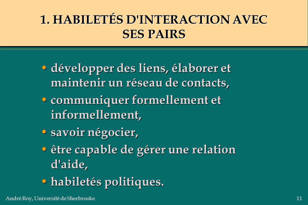 1. HABILETÉS D INTERACTION AVEC SES PAIRS