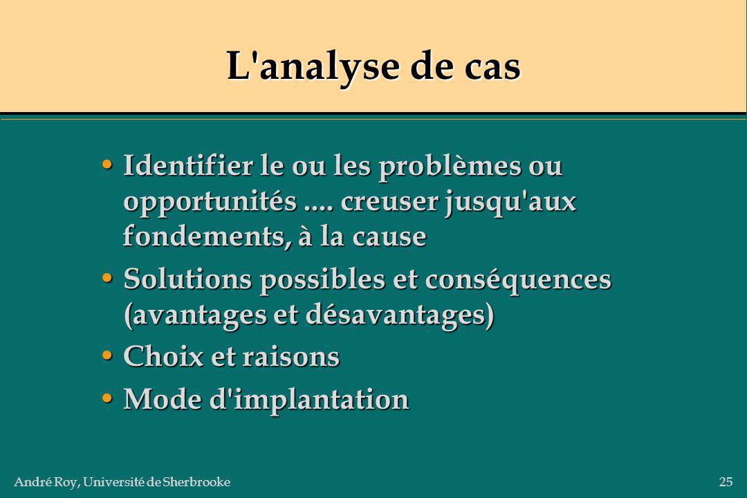 L analyse de cas Identifier le ou les problèmes ou opportunités .... creuser jusqu aux fondements, à la cause.