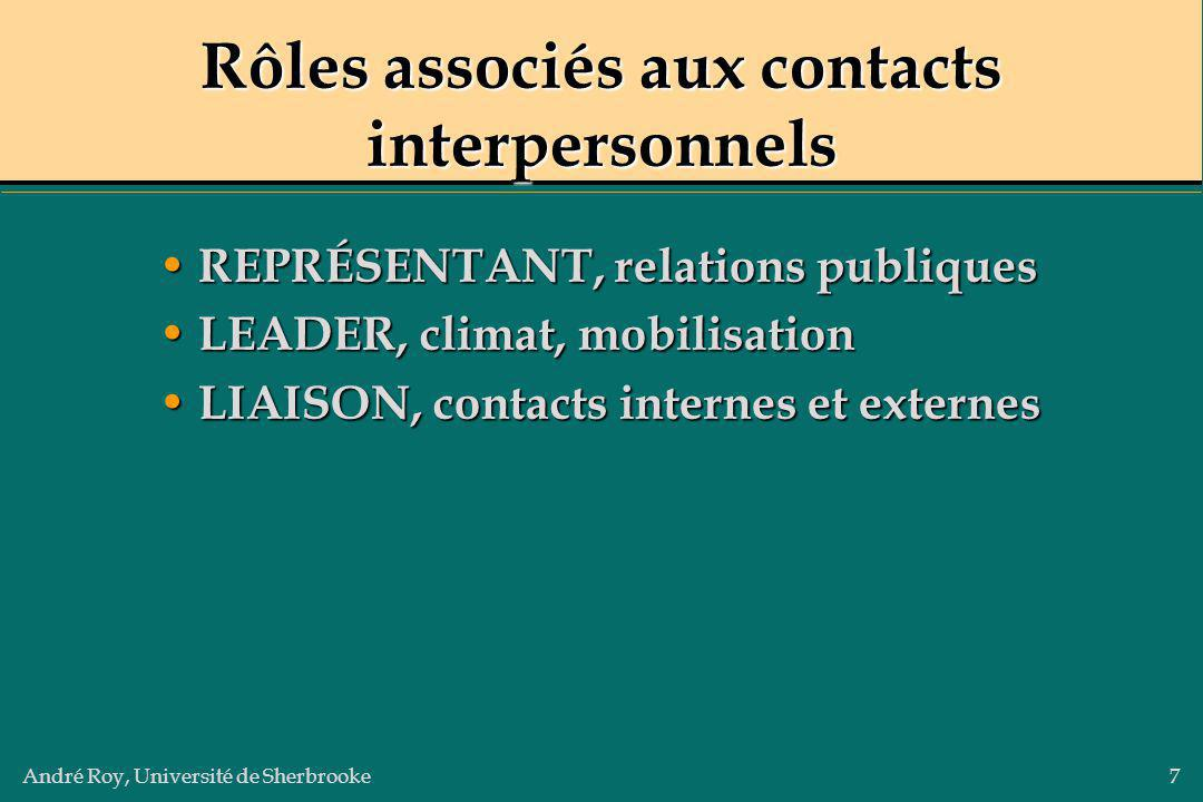 Rôles associés aux contacts interpersonnels