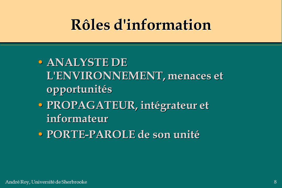 Rôles d information ANALYSTE DE L ENVIRONNEMENT, menaces et opportunités. PROPAGATEUR, intégrateur et informateur.