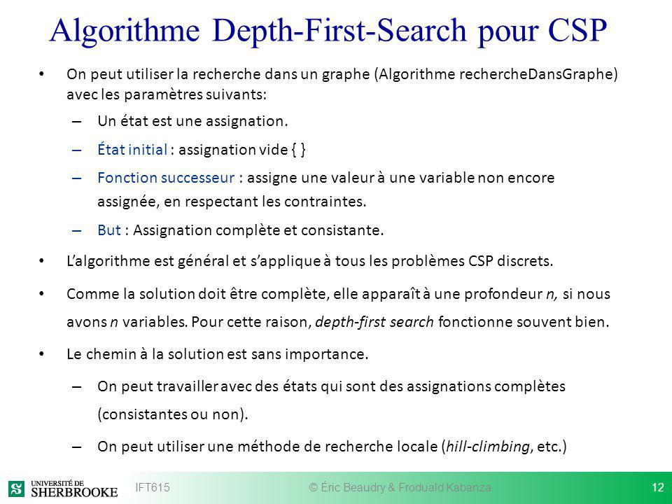 Algorithme Depth-First-Search pour CSP