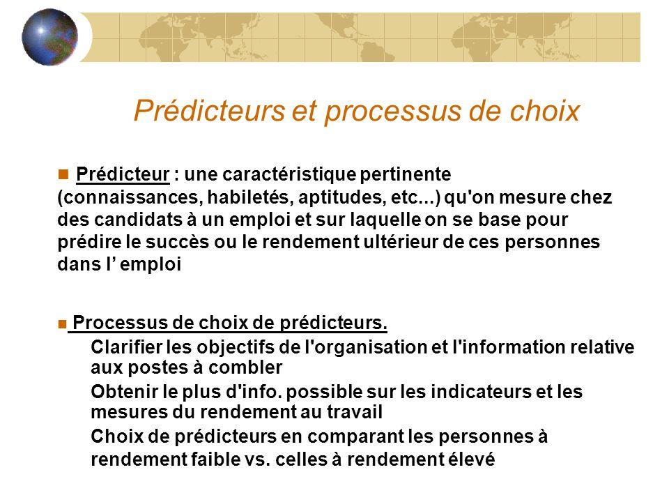 Prédicteurs et processus de choix