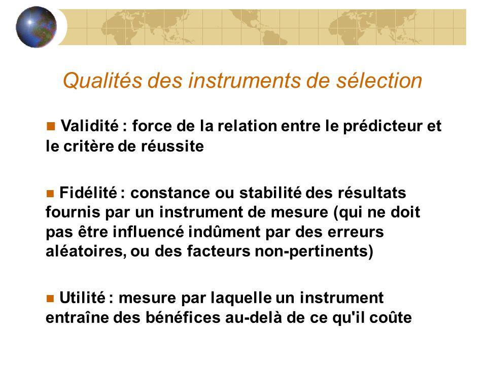 Qualités des instruments de sélection