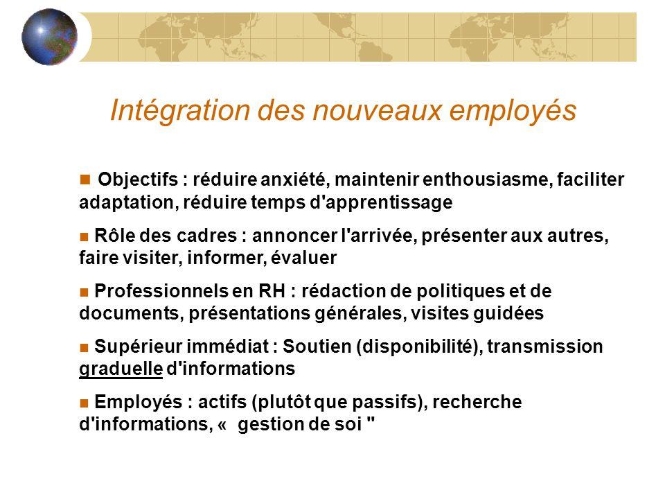 Intégration des nouveaux employés