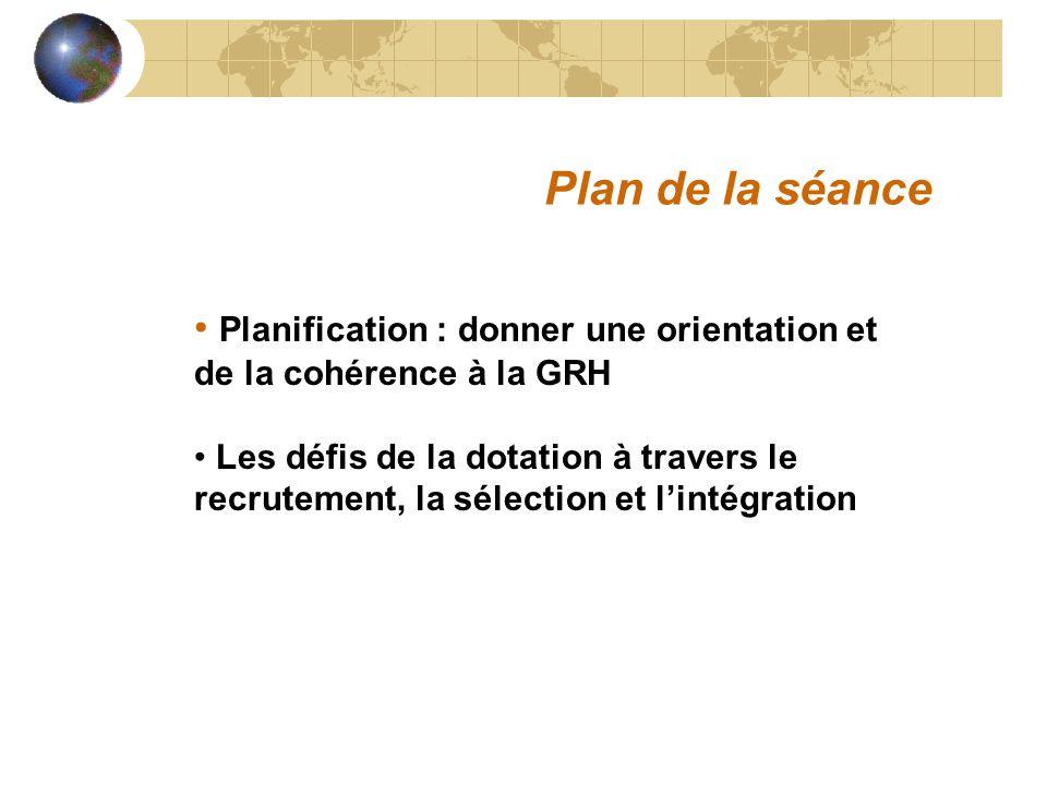 Plan de la séance Planification : donner une orientation et de la cohérence à la GRH.
