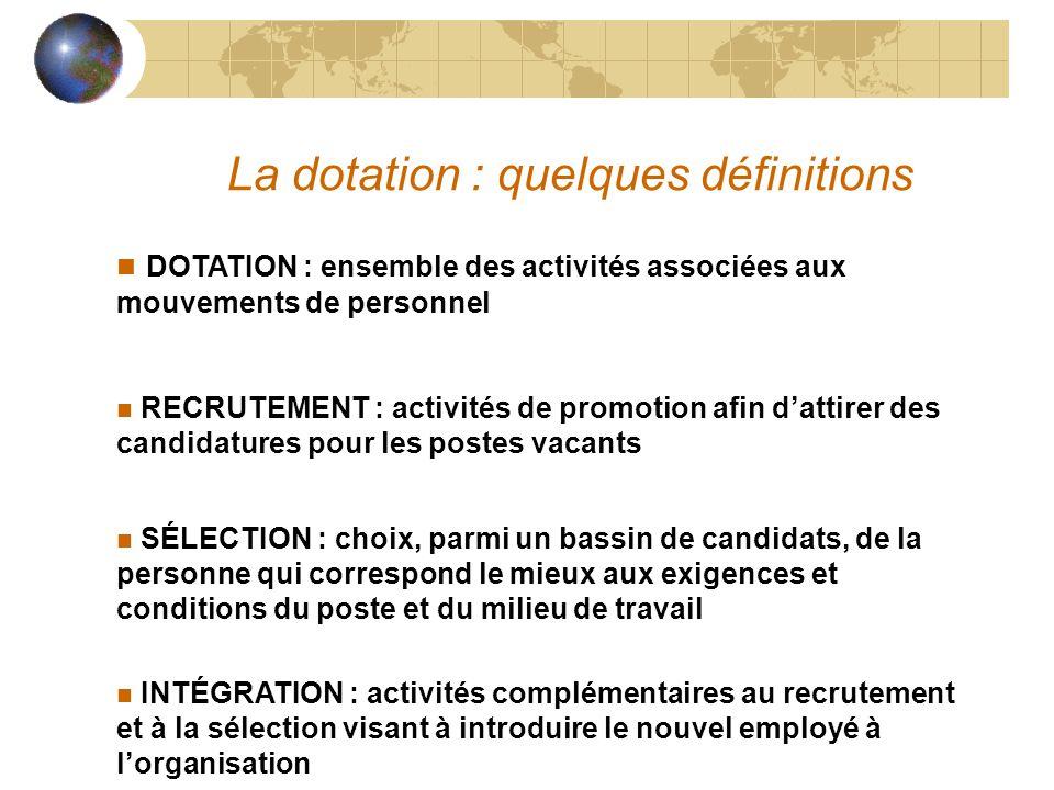 La dotation : quelques définitions