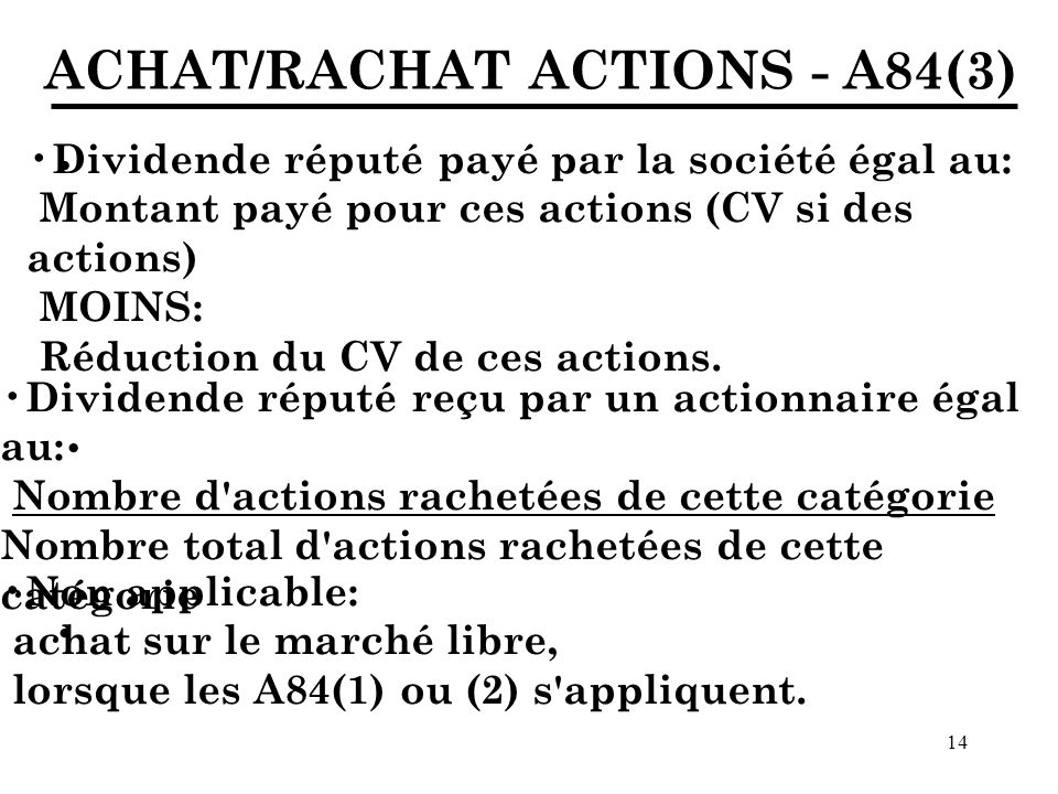 · · · ACHAT/RACHAT ACTIONS - A84(3)