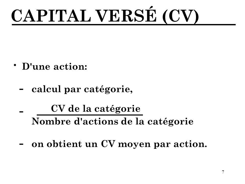 CAPITAL VERSÉ (CV) · - - - D une action: calcul par catégorie,
