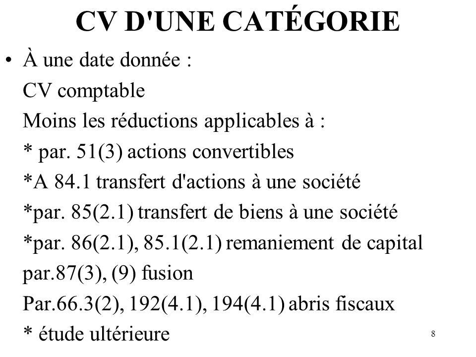CV D UNE CATÉGORIE À une date donnée : CV comptable