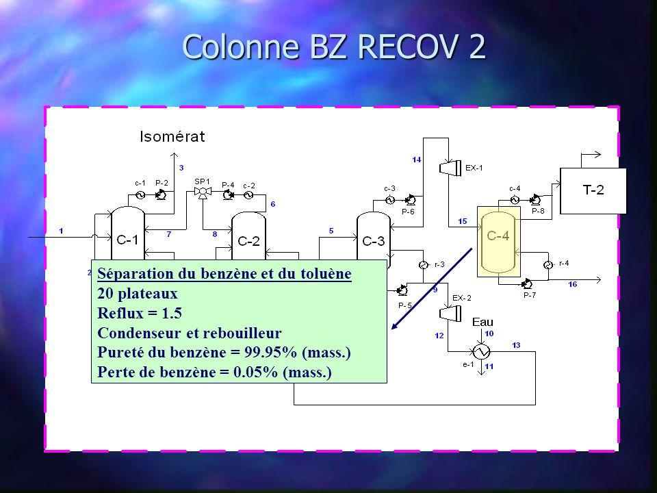 Colonne BZ RECOV 2 Séparation du benzène et du toluène 20 plateaux