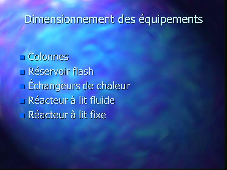Dimensionnement des équipements