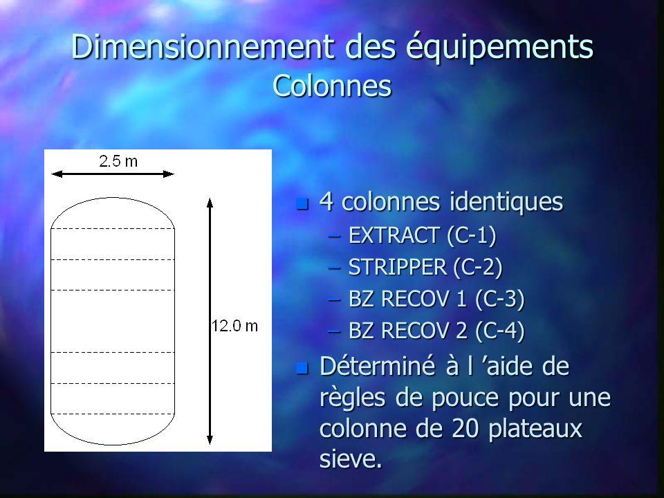 Dimensionnement des équipements Colonnes