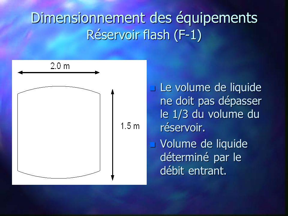 Dimensionnement des équipements Réservoir flash (F-1)