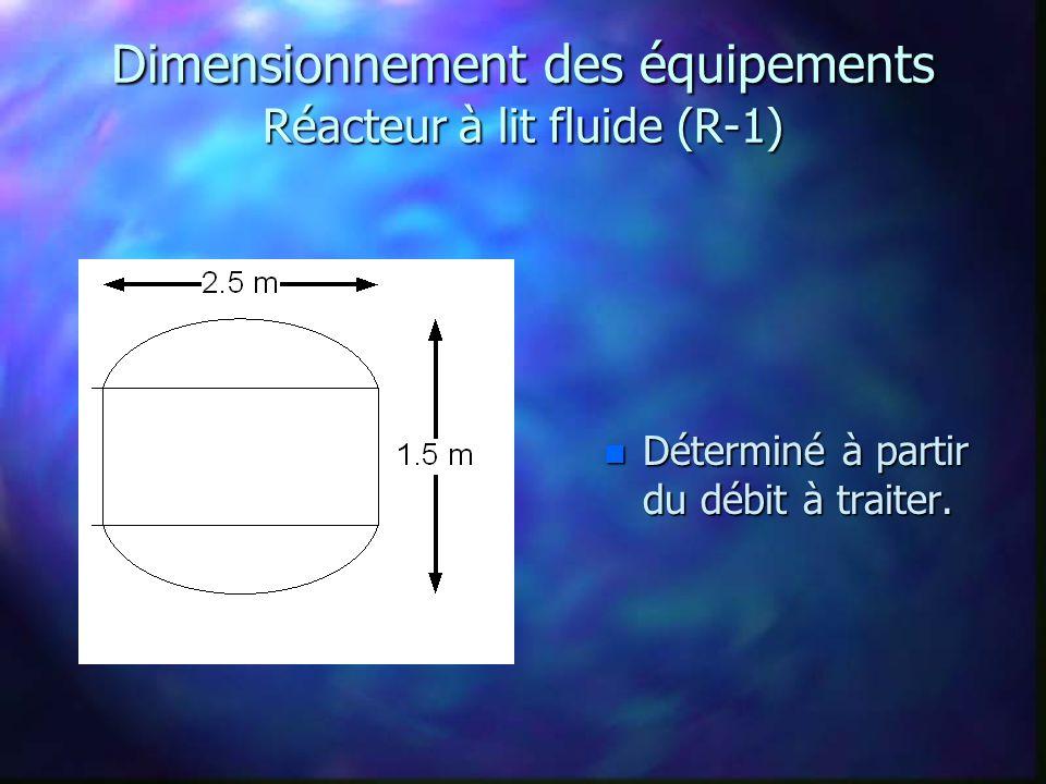 Dimensionnement des équipements Réacteur à lit fluide (R-1)
