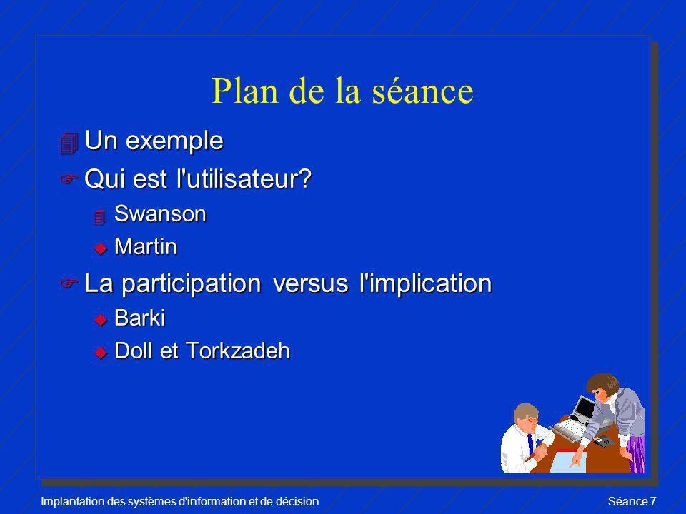 Plan de la séance Un exemple Qui est l utilisateur