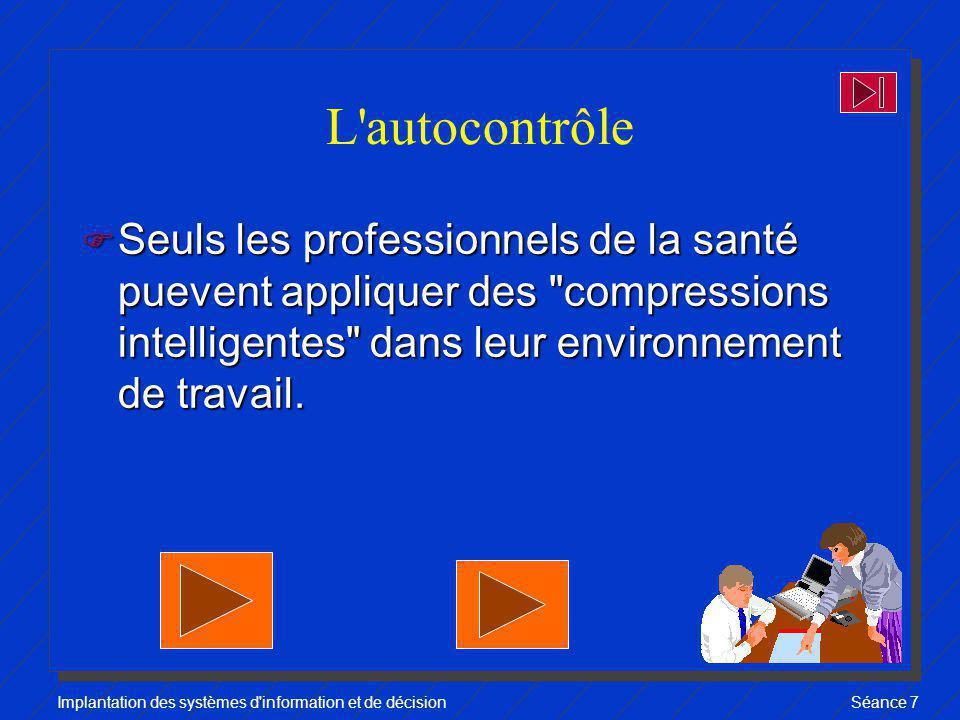 L autocontrôle Seuls les professionnels de la santé puevent appliquer des compressions intelligentes dans leur environnement de travail.