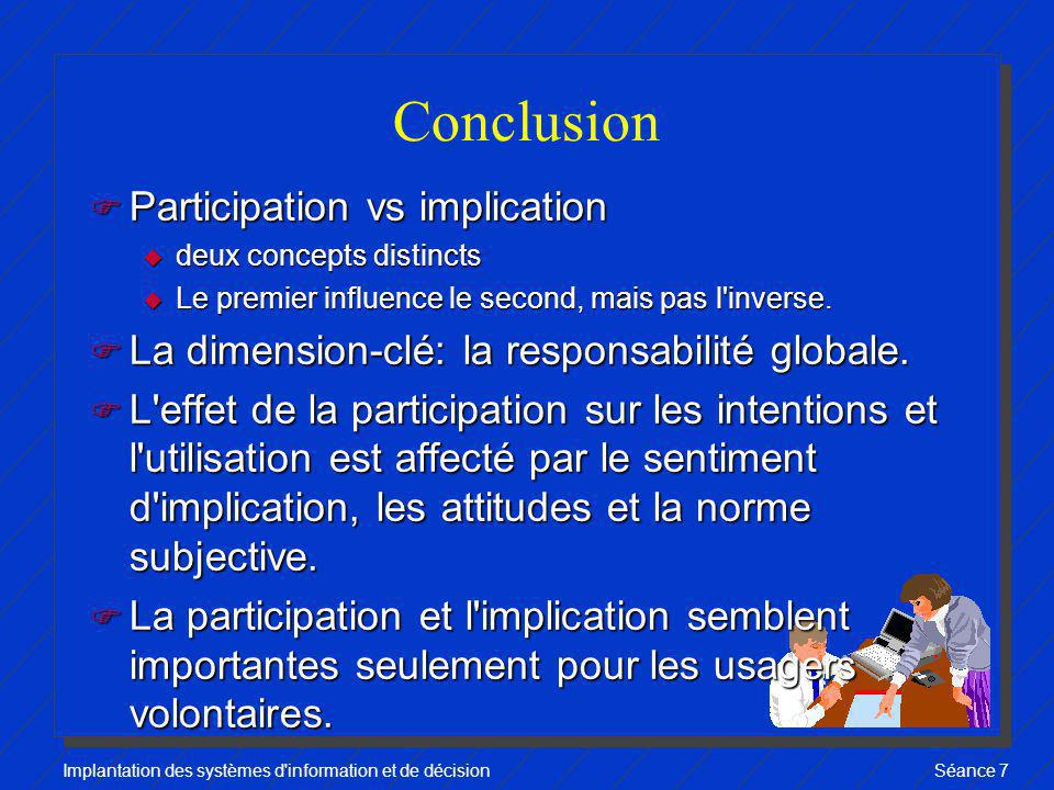 Conclusion Participation vs implication