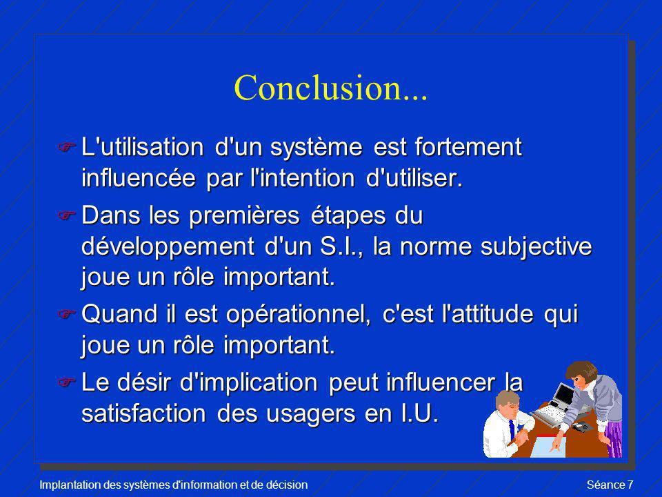 Conclusion... L utilisation d un système est fortement influencée par l intention d utiliser.