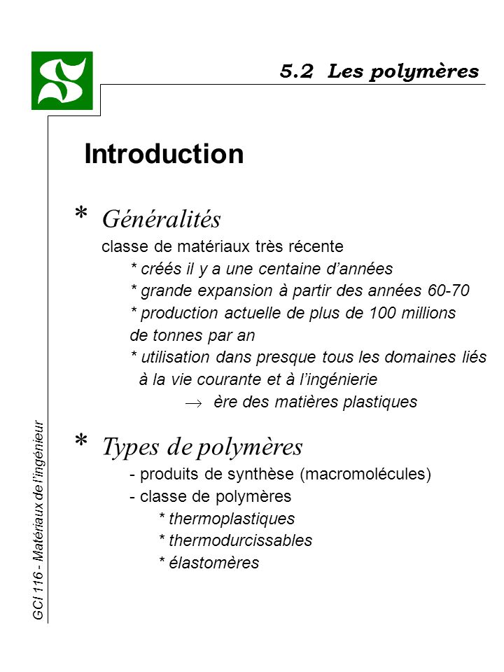 5.2 Les polymères Introduction.