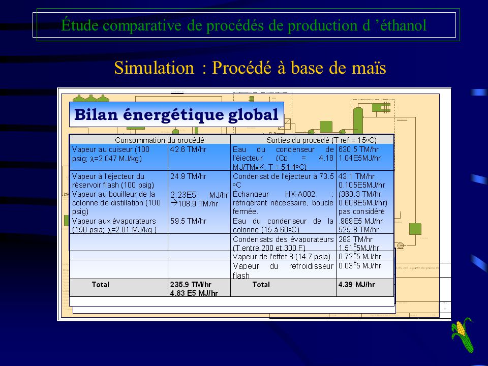 Simulation : Procédé à base de maïs